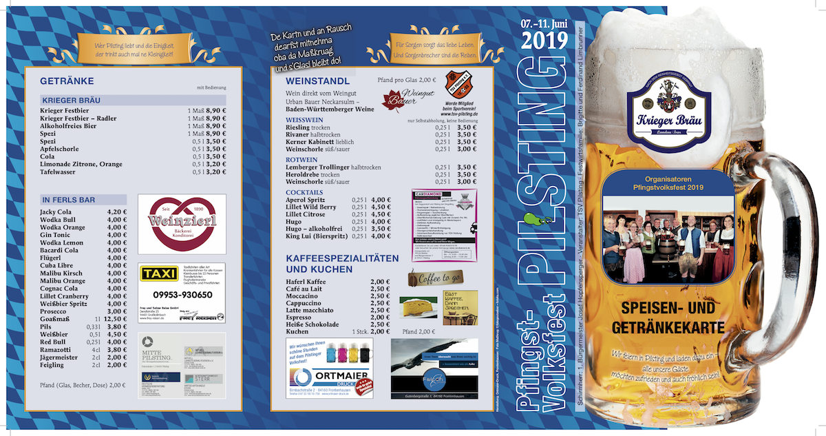 Speisekarte Pfingstvolksfest Pilsting 2019 7. Juni