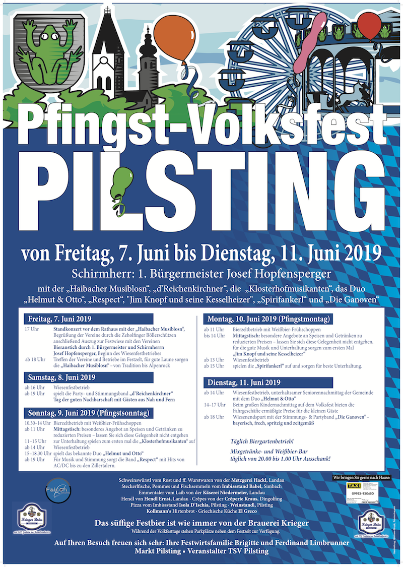 Programm Pfingstvolksfest Pilsting 2019 7. Juni