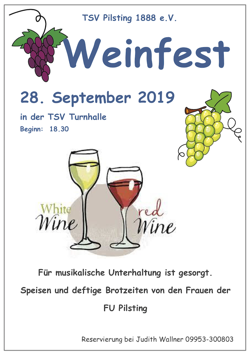 Weinfest TSV Pilsting 28. September 2019