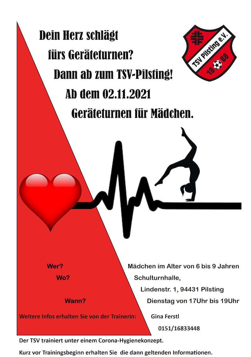 Geräteturnen Mädchen 6-9 Jahre TSV Pilsting ab November 2021
