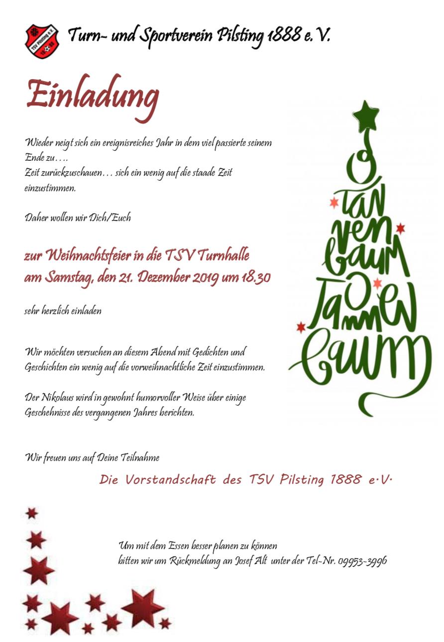 Weihnachtsfeier TSV Pilsting 2019