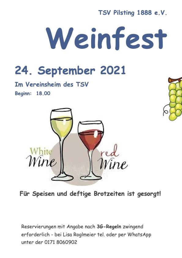 Weinfest 2021 TSV Pilsting am 24. September ab 18:00
