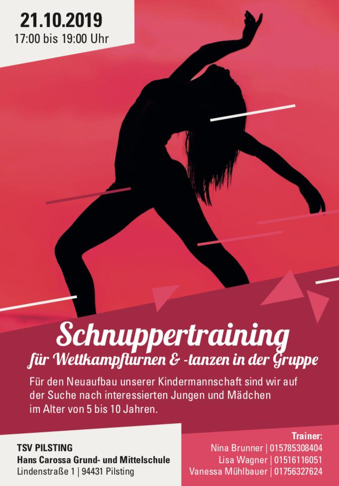 Schnuppertraining Wettkampfturngruppe Pilsting 21. Oktober 2019 ab 17:00